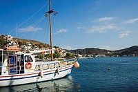 Yacht moored at a harbor, Skala, Patmos, Dodecanese Islands, Greece