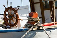 Boat tied up with a rope, Patmos, Dodecanese Islands, Greece