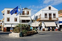 Flag in the center of a city, Patmos, Dodecanese Islands, Greece