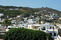 High angle view of buildings in a city, Patmos, Dodecanese Islands, Greece