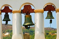Bells hanging in a church, Monastery of St  John the Divine, Patmos, Dodecanese Islands, Greece