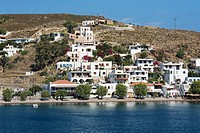 Buildings at the waterfront, Skala, Patmos, Dodecanese Islands, Greece
