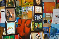 Painter with his paintings, Hanoi, Vietnam