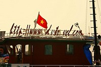 Vietnamese flag on a boat, Halong Bay, Vietnam