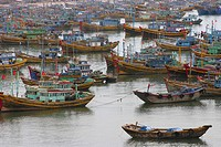 High angle view of boats moored at a harbor, Hoi An, Vietnam