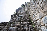 Low angle view of ruined steps, Aguas Calientes, Mt Huayna Picchu, Machu Picchu, Cusco Region, Peru