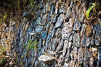 Close-up of a stone wall, Choquequirao, Inca, Cusco region, Peru