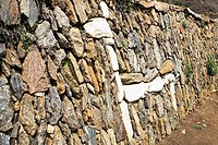 Structure of a Llama made on an old stone wall, Choquequirao, Inca, Cusco Region, Peru