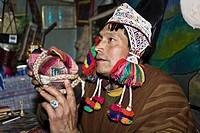Close-up of a mature man wearing traditional clothing, Huasao, Cusco Region, Peru