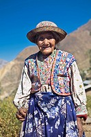 Portrait of a senior woman holding a cane and standing, Coshnirua, Peru