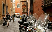 Street scene with parked scooters, Rome, Italy