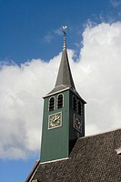Church tower of the Dutch Reformed Church in Krommenie, the Netherlands