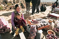 Peddler Selling North Shanxi Fruits, Yichuan County, Yan'an City, Shanxi Province, People's Republic of China, FOR EDITORIAL USE ONLY