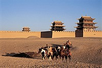 Horse caravan, Jiayuguan Great Wall, Gansu Province of People's Republic of China, FOR EDITORIAL USE ONLY