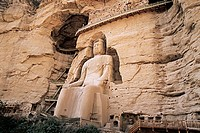 Ancient carved Buddha of Tang and Song dynasty in Bingling Temple Rock Cave, Liujia Gorge, Yongjin County, Gansu Province of People's Republic of Chin...