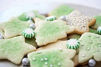 Christmas cookies and mints, close-up