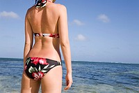 Young woman in bikini on beach, facing sea, mid section, rear view