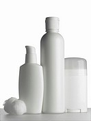 White cosmetics bottles