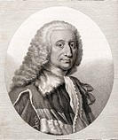 Nicholas Taaffe 6th Viscount Taaffe  c1685 - 1769 General Feldwachtmeister and Count of the Holy Roman Empire  Engraved by Bocquet from the book A cat...