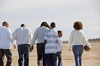 Group of people walking along beach