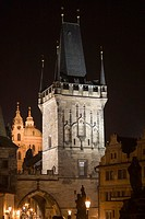 Czech Republic, Prague, Lesser Town Bridge Towers at night