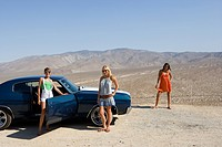 Small group of friends by car in desert, looking at view, elevated view