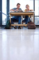 Young man and woman at desk studying, low angle view