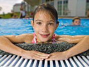 Close-up of girl in pool
