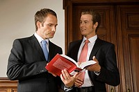 Businessmen looking at book