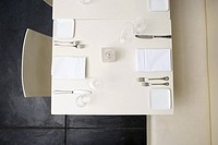 High angle view of restaurant table