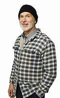 Senior man wearing flannel shirt