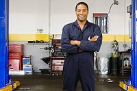 African male auto mechanic in shop