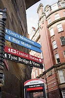 UK, England, Northumberland, Newcastle-upon-Tyne, Quayside, Queen Street. Sign