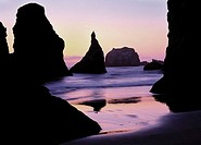 Rock monoliths in sunset at Bandon Beach. Oregon Coast