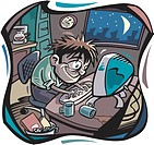 A workaholic works away on his computer late into the night