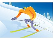 A man skiing on a snowy slope (thumbnail)