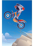 Illustration of a dirt biker in midair