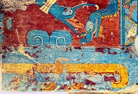Wall paintings from Cacaxtla archaeological site. Tlaxcala, Mexico