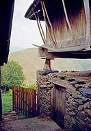 Horreo and vegetable garden, Folgueiras de Boiro. Ibias valley, Asturias, Spain