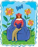 A woman reading a book in a garden