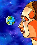 An illustration of a man in outerspace looking back at the earth