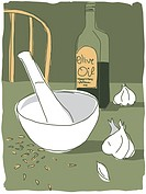 mortar and pestle, and garlic and olive oil