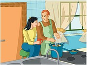 Man cooking for his wife (thumbnail)