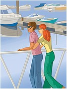Couple at the marina (thumbnail)