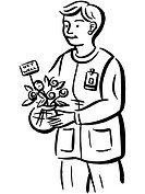 Drawing of a nurse delivering a vase of flowers