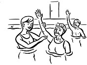 Elderly folks attending a water aerobics class (thumbnail)