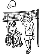 Volleyball exercise for elderly people