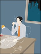 Businessman working late into the night and drinking coffee (thumbnail)