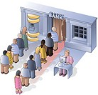 People lining up to use the bank machine