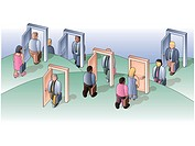 Business people opening and walking through doors of opportunity (thumbnail)
